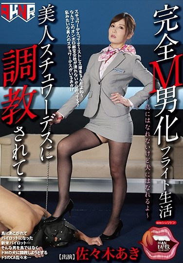 [MANE-016] A Totally Maso Man Transformation Flight Life I Was Getting Breaking In Training From A Beautiful Stewardess… Aki Sasaki