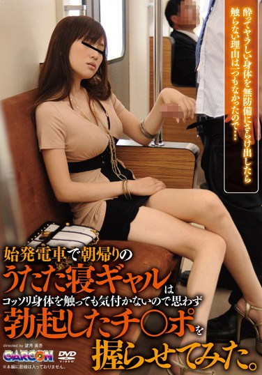 [GAR-328] The Slumbering Gal On The First Train Home Doesn't Seem To Notice I'm Secretly Touching Her Body So I Made Her Hold My Hard Cock.