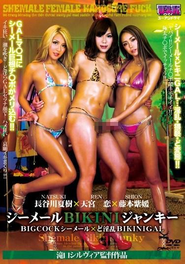 [AUKS-071] Shemale Bikini Junky – Big Cock Shemale x Wild Bikini Gal –