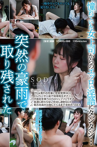 STARS-388 Along in the office with the female boss I admire on a night with heavy rain… Since we can't go home, we fuck all night, Hikari Aozora